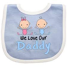 Boy Girl Twins Love Daddy Baby Bib Blue And White 1099 Www