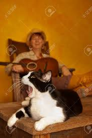 Pretty Western Woman In Antique Rocking Chair With Guitar And..