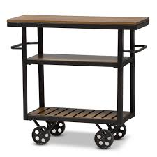 Baxton Studio Kennedy Rustic Industrial Style Antique Black Textured Finished Metal Distressed Wood Mobile Serving Cart