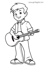 Coloring A Boy Playing Guitar Prepares Children For Formal Music Tuition By Developing Their