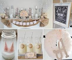 Karas Party Ideas Rustic Shabby Winter Wonderland Girl 1st