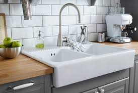 white double bowl farm sink with stainless steel color single