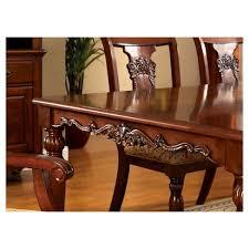Sun Pine Intricate Wood Carved Design Dining Table Dark Oak Target