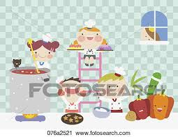 Clipart Of Illustration Kids Cooking In Kitchen 076a2521
