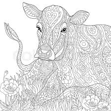 Cow Zentangle Coloring Page