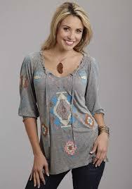 steston women u0027s grey embroidered 3 4 sleeve smocked western
