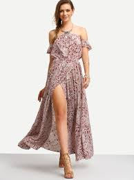 burgundy print in white off the shoulder maxi dress emmacloth
