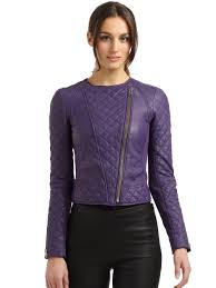 catherine malandrino quilted leather jacket in purple lyst