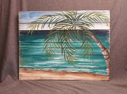 Pallet Wood Art BEACH Beach Palmtree Wall Handmade Decor Barnwood Seascape Horizon