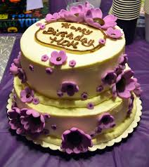 Purple flower cake For Terry s birthday 2 layer 8 inch round