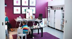 Kids BedroomStriking White And Purple Home Office Playroom With Frame Wall Art