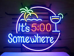 new it s 5 o clock somewhere real glass neon light sign home