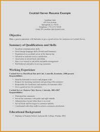 Resume Examples Server Catering Job Description For Servers Restaurant Cv Objective Cocktail Of On