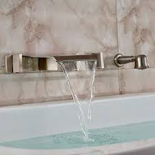 brushed nickel wall mount waterfall bathtub faucet with handheld