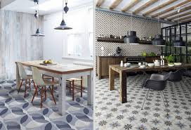these rooms successfully mix retro patterned tiles with rustic and