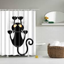 duschvorhänge duschvorhang aus polyester textil bad vorhang schwarz katze bedruckt anti schimmel wasserdichter badezimmer vorhang mit 12