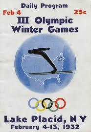 olympics 1932 lake placid new york vintage poster print
