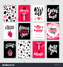 Valentines Day Gift Card Vector Set Hand Drawn Printable Templates With Lettering Texture