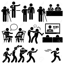 News Reporter Anchor Woman Newsroom Man Talk Show Host Stick Figure Pictogram Icon Stock Vector