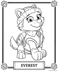 Print Paw Patrol Everest Coloring Pages Inside Printable
