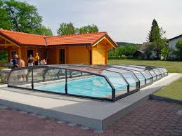 Swimming Pool Enclosures USA Retractable Enclosure Oceanic Low Anthracite Color