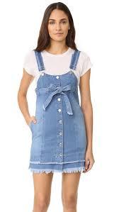 sjyp button front strap denim dress shopbop