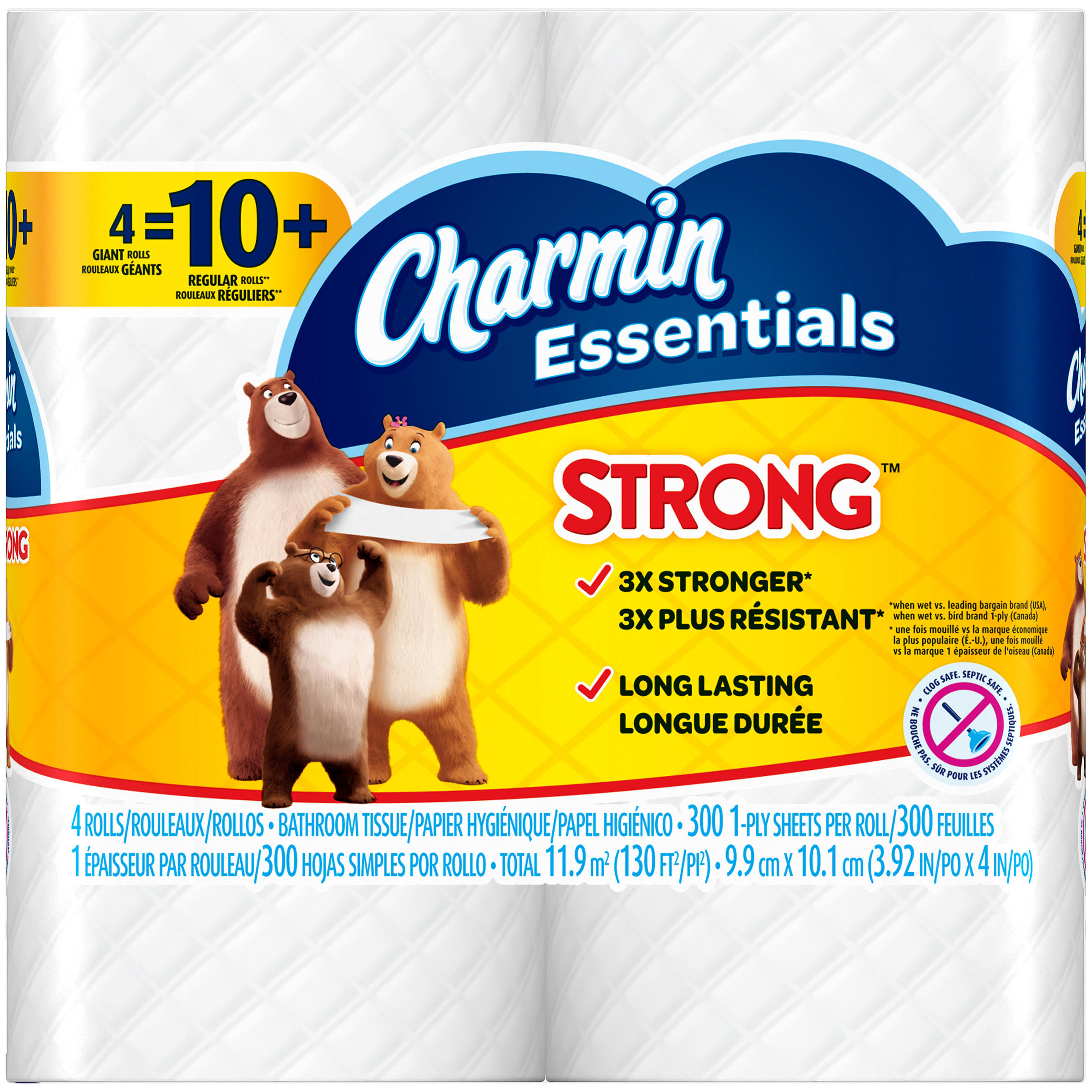 Charmin 96891 Essentials Strong Toilet Paper - 4 Rolls