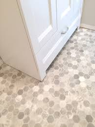 Faux Marble Hexagon Floor Tile by Getting A Hex Tile Look With Vinyl Flooring Ideas House And Bath