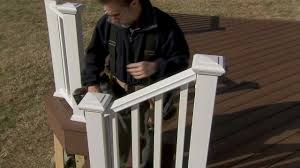 Installing Veranda Premium Composite Railing On Stairs - YouTube Watch This Video Before Building A Deck Stairway Handrail Youtube Remodelaholic Stair Banister Renovation Using Existing Newel How To Paint An Oak Stair Railing Black And White Interior Cooper Stairworks Tips Techniques Installing Balusters Rail Renovation_spring 2012 Wood Stairs Rails Iron Install A Porch Railing Hgtv 38 Upgrade Removing Half Wall On And Replace Teresting Railings For Stairs Installation L Ornamental Handcrafted Cleves Oh Updating Railings In Split Level Home
