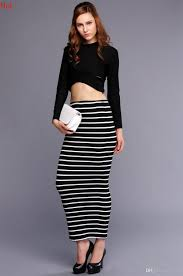 2017 lady clothing womens crop tops long sleeve striped bodycon