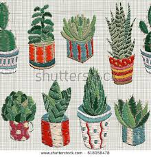 Seamless Pattern With Embroidery Succulents Cactus And Pots Wall Art Home Decor