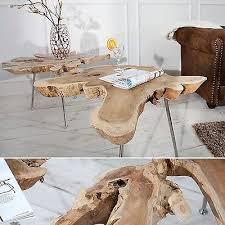 exklusiver couchtisch 90 cm baumscheibe teakholz tisch