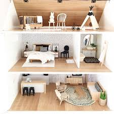 modern dollhouse design featuring monochrome furniture in 1