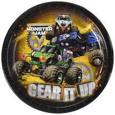 100 Monster Truck Theme Party Jam Supplies Dinner Plate 8 Package Includes 8