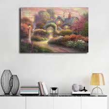 kinkade rosebud cottage hd poster leinwand malerei öl gerahmte wand kunstdruck bilder für wohnzimmer startseite decoracion