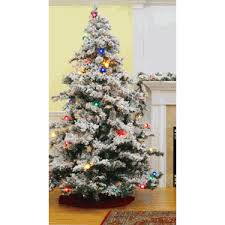 Krinner Christmas Tree Genie by Vickerman Prelit Flocked Alaskan Tree With Multicolor Lights