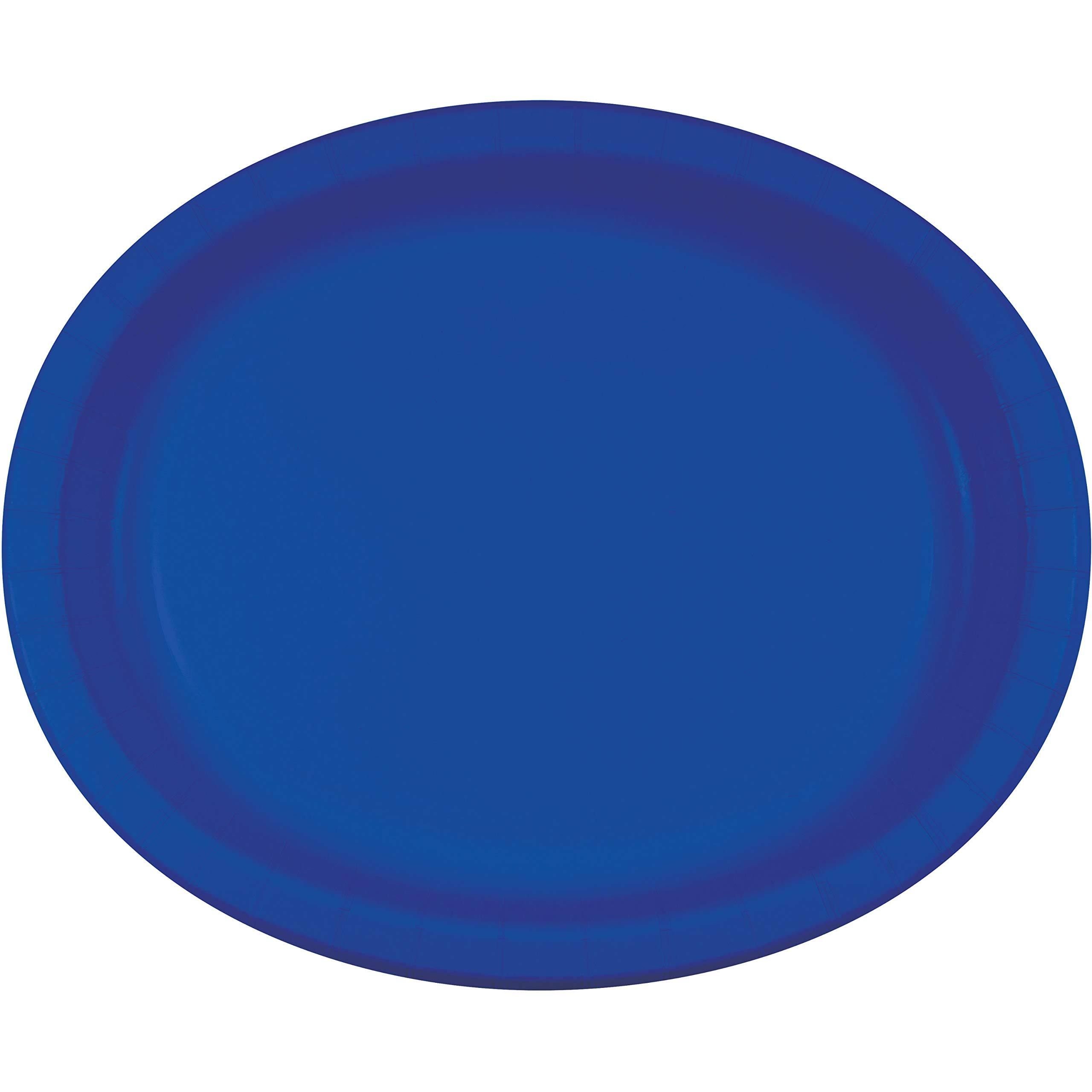 "Creative Converting Touch of Color Paper Oval Platters - Cobalt, 12"", x8"