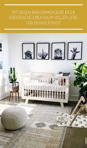 babyzimmer deko ideen tiere wandbilder grüne pflanzen grau