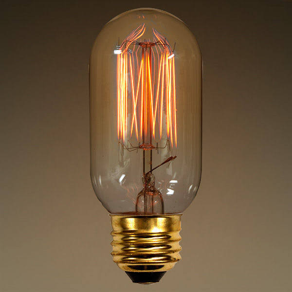 PLT Vintage Light Bulb, 40W, T14, Radio Style, 4.1 in. Length, Squirrel Cage Filament, Clear