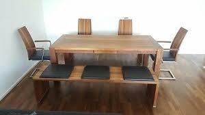 esstisch inkl stühle und bänke aus nussbaum massiv eur