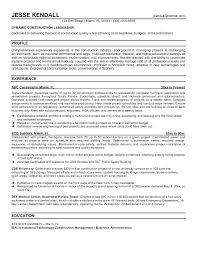 Construction Resume Example Fascinating General
