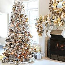 Captivating Gold Christmas Tree Artificial Flocked Decorated With Metallic Copper Silver And Pink Mercury Glass Burgundy