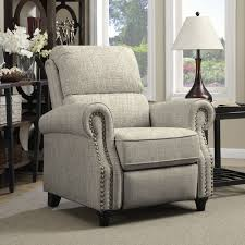 Transitional Living Room Chairs by Portfolio Prolounger Barley Tan Linen Push Back Recliner Chair
