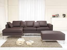 canapé d angle pouf canapé d angle gauche avec pouf en cuir brun sofa oslo