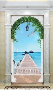 großhandel benutzerdefinierte größe 3d fototapete wohnzimmer veranda römische spalte bö schöne meer bild sofa hintergrund wand tapete vlies