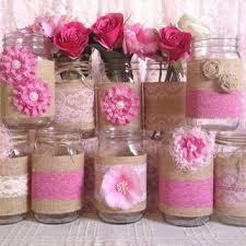 10x Rustic Burlap And Pink Lace Covered Mason Jar Vases Wedding Decoration Bridal Shower