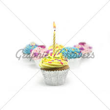 Cupcake Shot A White Background With e Candle