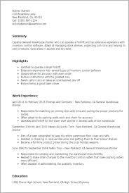 Warehouse Job Resume Sample Worker Description