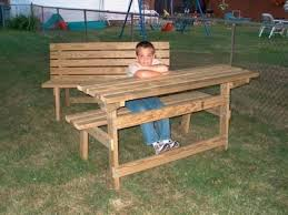 kitchen park bench turns into a picnic table for two wood for