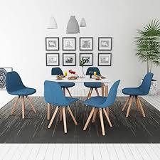 fzyhfa set tisch mit stuhl esszimmer 7 teilig weiß und blau